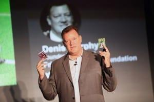 Dennis Murphy showing a Jaclyn Murphy Heroic Inspiration trading card
