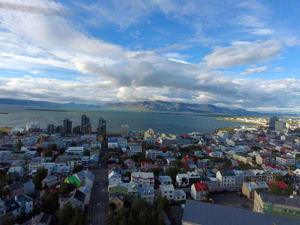 Drone view of Reykjavic near city centre